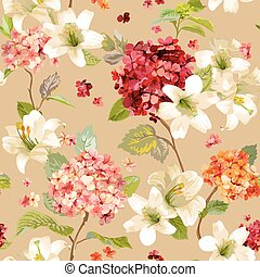 Autumn Hortensia and Lily Flowers Backgrounds. Seamless...