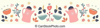 Autumn Hygge pattern design banner. Cute symmetrical vector winter and Fall seamless repeat border.