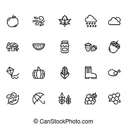 Autumn Icon Set Design Line Style