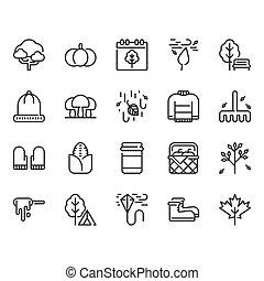 Autumn icon set. Vector illustration