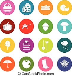 Autumn icons many colors set