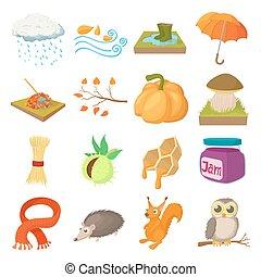 Autumn icons set, cartoon style