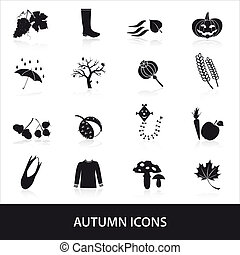 autumn icons set eps10
