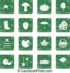 Autumn icons set grunge