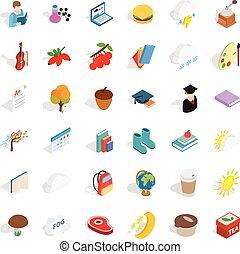 Autumn icons set, isometric style