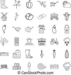 Autumn icons set, outline style