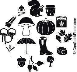 Autumn icons set, simple style