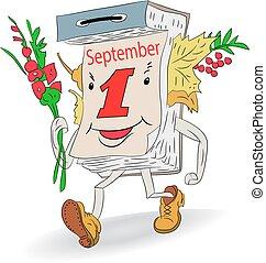 Autumn illustration, Cheerful tear-off calendar (September 1), cartoon on a white background.