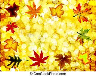 Autumn illustration gold background. Vector