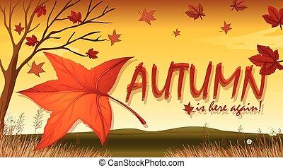 Illustration of a sign of autumn season
