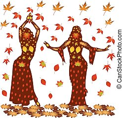 Autumn illustration of two dancing women, on a background of autumn leaves.