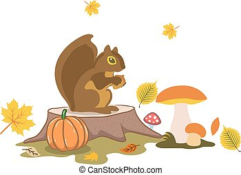 Autumn illustration, Squirrel in the forest sits near the mushrooms, cartoon on a white background.