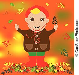 Autumn illustration with cute child with leaf in a hand