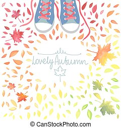 Autumn illustration with motley leaves and boots.