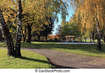Autumn in a park.