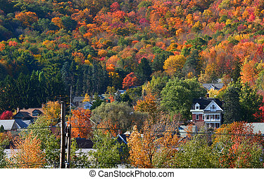Autumn in a small town - Beautiful small town in the middle ...