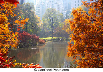 Autumn in Central Park - Central Park in autumn, The Pond...
