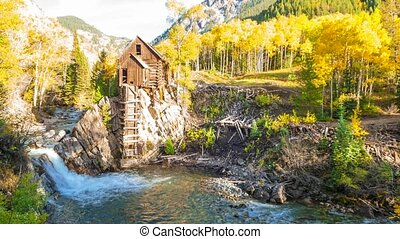 Autumn in Crystal Mill Colorado Landscape UHD 4K Time-lapse
