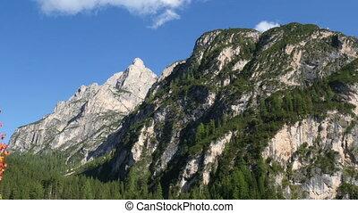 autumn in dolomites alps - Autumn mountain over lake prags...