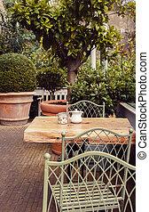 autumn in garden cafe