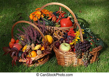 Autumn in garden - Wicker baskets with autumn goodies from ...