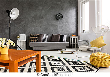Autumn in living room - Grey and white living room with...