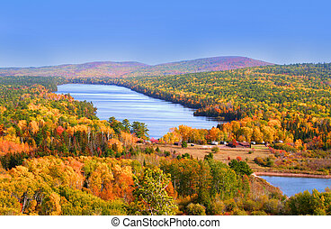 Autumn landscape Colorful trees in mountains of Michigan