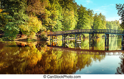 Autumn in outdoor park with wooden bridge on lake