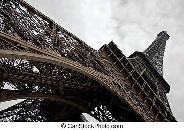 Eiffel tower at wide angle. - Autumn in Paris. Eiffel tower...