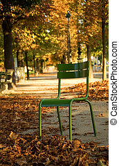 Autumn in Paris. Typical parisian park chair in the Luxembourg Garden. Paris, France
