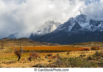 Autumn in Patagonia. The Torres del Paine National Park in the south of Chile is one of the most beautiful mountain ranges in the world.