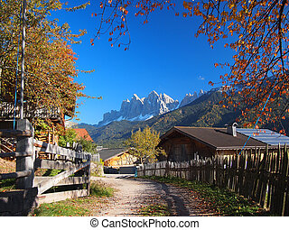 Autumn in South Tyrol - A rural village in the Funes Valley...
