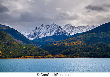 Autumn in the Canadian Rockies with Kinbasket Lake in the foregr