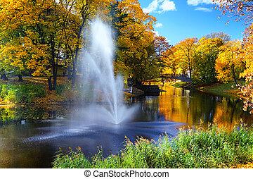 Autumn in the city park of Riga