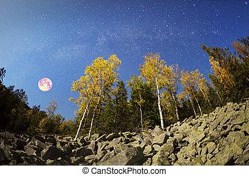 autumn in the Gorgan Mountains at night