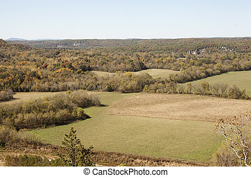 Autumn in the Ozark Mountains - View from above of the ozark...