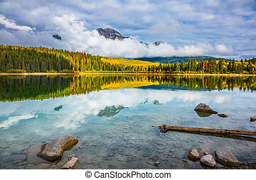 Patricia Lake amongst the forests - Autumn in the Rocky ...