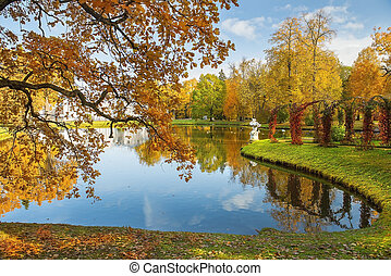 autumn landscape in park Tsaritsyno in Moscow, Russia