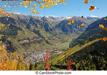 Autumn in Vail Colorado - Leaves fall while looking down at...