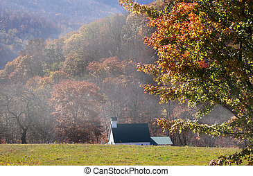Autumn in West Virginia - Small historic church in the ...