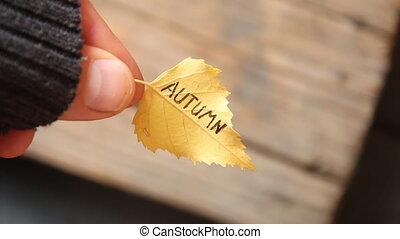 Autumn - inscription on Leaf