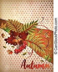 Autumn invitation banner, vector illustration