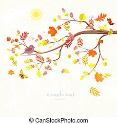 autumn invitation card with branch of tree and a cute bird for y