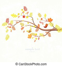 autumn invitation card with lovely branch of tree and butterflie