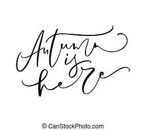Autumn is here lettering calligraphy text isolated on white background. Hand drawn vector illustration. Black and white poster design elements