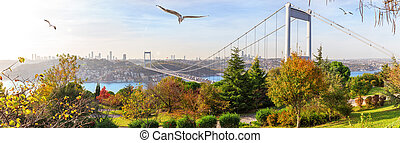 Autumn Istanbul, panorama of the Otagtepe park and the Second Bosphorus Bridge