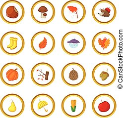 Autumn items icons circle