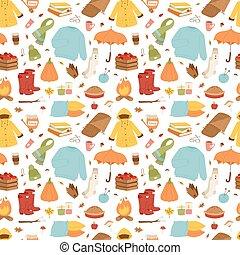 Autumn items seamless pattern.