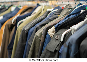 Autumn jackets in second hand shop.