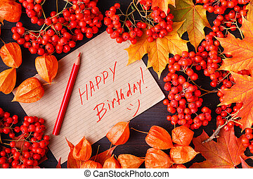 Autumn Label with the Words Happy Birthday on it